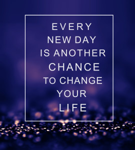 Inspirational quote over abstract background with lights EVERY NEW DAY IS ANOTHER CHANCE TO CHANGE YOUR LIFE. Life quote.