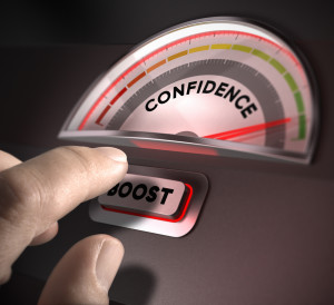 confidence indicator dial index and boost button over a dark background. Illustration of self-confidence or esteem
